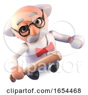 Mad Scientist Professor Is A Keen Baseball Fan With His Bat And Ball