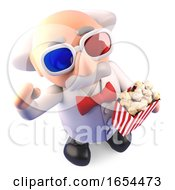 Mad Scientist Enjoying A 3d Movie With His 3d Glasses And Popcorn