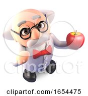Eat Healthy Says The Mad Scientist Professor As He Eats An Organic Apple by Steve Young