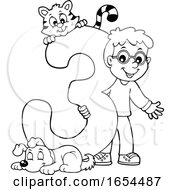 Black And White School Boy With Number 3 And Animals