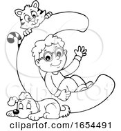 Black And White School Boy With Letter C And Animals