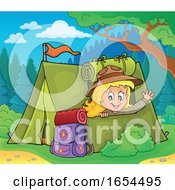 Girl Camping And Waving From Her Tent