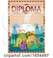 Diploma With A Girl Camping And Waving From Her Tent