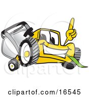 Clipart Picture Of A Yellow Lawn Mower Mascot Cartoon Character Pointing Upwards by Toons4Biz