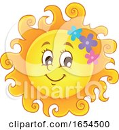 Smiling Summer Sun With Flowers