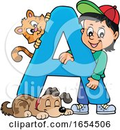 School Boy With Letter A And Animals