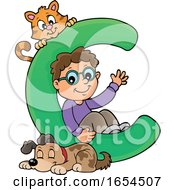 School Boy With Letter C And Animals