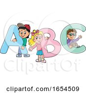 School Kids With Alphabet Letters by visekart