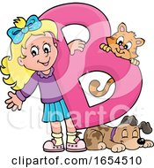 School Girl With A Letter B And Animals