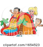 Kids Playing On A Summer Water Slide