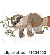 Cute Sloth Sleeping On A Branch by visekart