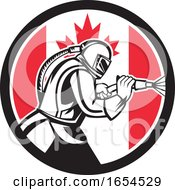 Retro Woodcut Sandblaster Worker In A Canadian Flag Circle