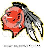 Mohawk Indian Brave Head In Profile
