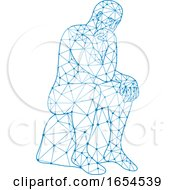 Nodes Or Mosaic Low Polygon Style Illustration Of A Future Man Sitting Thinking