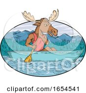 Moose Paddling Canoe Drawing Oval