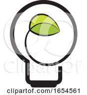Poster, Art Print Of Light Bulb With A Green Leaf
