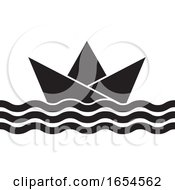 Black And White Floating Paper Boat