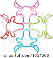 Poster, Art Print Of Colorful Bull Heads
