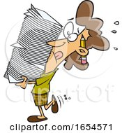 Cartoon White Business Woman Carrying A Heavy Stack Of Paperwork