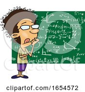 Cartoon Thinking Female Mathematician
