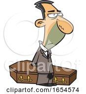Cartoon Male Undertaker Over A Coffin