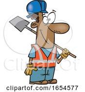 Cartoon Black Construction Worker Man With A Shovel
