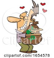 Cartoon White Man Hugging A Money Bag