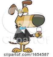 Cartoon Suave Dog With A Glass Of Wine