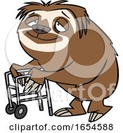Cartoon Old Sloth Using A Walker