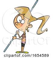 Cartoon White Pole Vaulter Girl