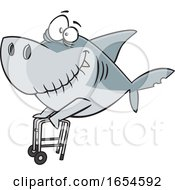 Cartoon Grandpa Shark With A Walker