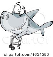 Cartoon Granny Shark With A Walker
