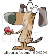 Cartoon Dog Eating His Daily Apple by toonaday