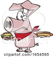 Cartoon Pig Holding A Hot Dog And Cheeseburger