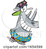 Cartoon Beach Rhino In Summer Time by toonaday