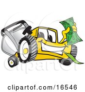 Yellow Lawn Mower Mascot Cartoon Character Holding Cash