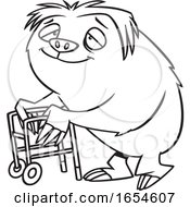 Cartoon Lineart Old Sloth Using A Walker