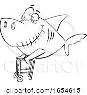 Cartoon Lineart Grandpa Shark With A Walker