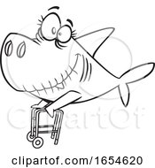 Cartoon Lineart Granny Shark With A Walker