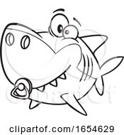Cartoon Lineart Baby Shark With A Pacifier by toonaday