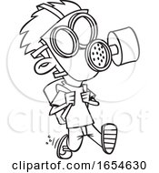 Cartoon Lineart Boy Wearing A Mask