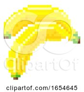 Banana Pixel Art 8 Bit Video Game Fruit Icon