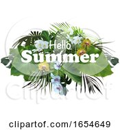 Hello Summer Text Over Tropical Foliage
