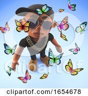 Peace Loving Black Hiphop Rapper Surrounded By Butterflies 3d Illustration