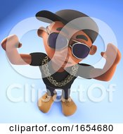 Cool Black African Hiphop Rap Artist Cheering With Arms In The Air 3d Illustration