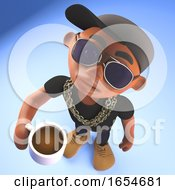 Poster, Art Print Of Thirsty Black Hiphop Rapper Drinking Coffee From A Mug 3d Illustration