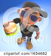 Hungry Black Hiphop Rapper Eating A Delicious Cheese Burger Snack 3d Illustration