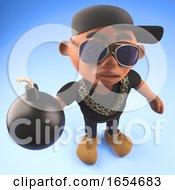 Baseball Cap Wearing Black Hiphop Rapper Holding A Bomb 3d Illustration