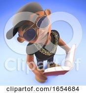Smart Black Hiphop Rapper Reading A Book For Study 3d Illustration