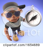Black Hiphop Rapper In Baseball Cap With A Magnetic Compass 3d Illustration